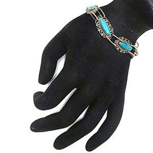 VINTAGE TAXCO/EAGLE 925 Silver Turquoise Bracelet